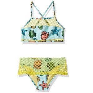 🍍VIGOSS NWT Girls Blue Big Shells Halter Bikini 7